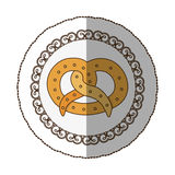 Emblem pretzel bread icon. Illustraction design image Stock Photos