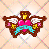 The emblem of the Princess with the heart, crown and wings. Vector illustration Stock Photography