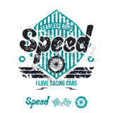 Emblem of the racing car in retro style Royalty Free Stock Images