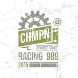 Emblem racing championship in retro style Stock Photography