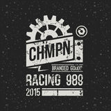 Emblem racing championship in retro style Stock Image
