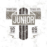 Emblem racing junior in retro style Stock Images