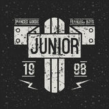 Emblem racing junior in retro style Stock Photos