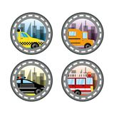 Emblem related with taxi, bus, police and fire truck in a beautiful city. Vector illustration Stock Photography