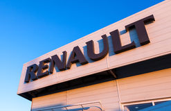 The emblem Renault on the office of official dealer. Royalty Free Stock Photo