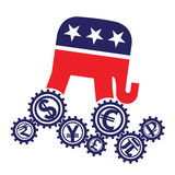 Emblem of the Republican Party of the US and world currencies Royalty Free Stock Photos