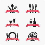 Emblem for restaurant. Set of vector logos for restaurants, cafes, fast-food chains. Patterns posters with slogans Stock Photography