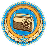 Emblem with retro radio. Stock Photo