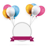 Emblem with Ribbon Balloons Stock Images