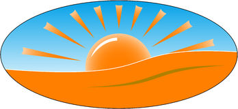 Emblem of rising sun Stock Photography