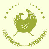 The emblem is a running cock. Stock Image