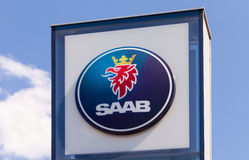 The emblem SAAB over blue sky Royalty Free Stock Photography