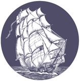Emblem of sail ship. Emblem of ship with white sail vector illustration