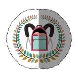 Emblem school bag icon design. Illustration image Royalty Free Stock Photo