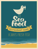 Emblem seafood with seagull with fish in its beak. Vector banner for restaurant with inscription seafood, seagull with a fish in its beak on the background of Royalty Free Stock Photography