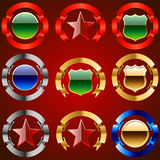 Emblem set. Set of emblems with ribbon and stars. Golden style Royalty Free Stock Photos