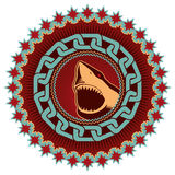Emblem with shark. Stock Photos