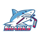 Emblem shark bites hockey stick Stock Photos