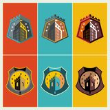 Emblem and shield with building icon Royalty Free Stock Photos