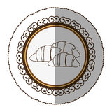 Emblem silhouette croissant bread icon. Illustraction design image Stock Image
