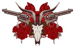Emblem with skull of goat, red roses and pistols. Vector emblem with skull of goat, red roses, big old revolvers and barbed wire isolated on white background Royalty Free Stock Photos
