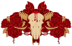 Emblem with skull sheep and rose. And fire Royalty Free Stock Photography