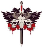 Emblem with skulls, sword, roses and wings. Vector emblem with a skull of a bull pierced by a sword and two human skulls with barbed wire on the background of a Stock Images