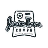 Emblem of soccer junior team. Graphic design for t-shirt. Black print on white background Stock Image