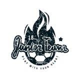 Emblem of soccer junior team. Graphic design for t-shirt. Black print on white background Royalty Free Stock Photo