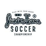 Emblem of soccer junior team. Graphic design for t-shirt. Black print on white background Stock Images