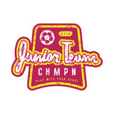 Emblem of soccer junior team. Graphic design for t-shirt and stickers. Color print on white background Royalty Free Stock Photography