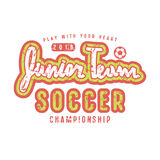 Emblem of soccer junior team. Graphic design for t-shirt and stickers. Color print on white background Royalty Free Stock Image