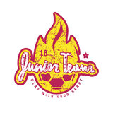 Emblem of soccer junior team. Graphic design for t-shirt and stickers. Color print on white background Stock Image
