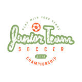 Emblem of soccer junior team. Graphic design for t-shirt and stickers. Color print on white background Royalty Free Stock Photos