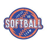 Emblem of softball junior team. Graphic design for t-shirt and stickers. Color print on white background Stock Image