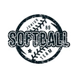 Emblem of softball junior team. Graphic design for t-shirt. Black print on white background Royalty Free Stock Images