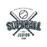 Emblem of softball junior team. Graphic design for t-shirt. Black print on white background Stock Photos
