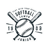 Emblem of softball junior team. Graphic design for t-shirt. Black print on white background royalty free illustration