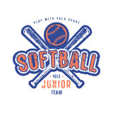 Emblem of softball junior team. Graphic design for t-shirt. Color print on white background Stock Photography