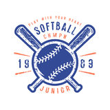 Emblem of softball junior team. Graphic design for t-shirt. Color print on white background Royalty Free Stock Photo