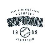 Emblem of softball team. Graphic design for t-shirt. Black print on white background Royalty Free Stock Photo