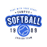 Emblem of softball team. Graphic design for t-shirt. Color print on white background Royalty Free Stock Photo
