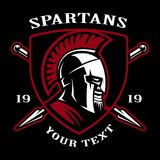 Emblem of spartan warrior. Lofo design on dark background. Text is on the separate layer vector illustration