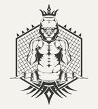 Emblem of sports club with image fighter's body. Illustration for emblem of sports club with image fighter's body and pit bull's head in the ring Stock Image