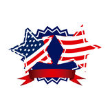 Emblem and stars independence day icon Stock Photo