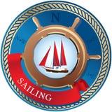 Emblem with steering wheel, sailboat and ribbon stock illustration