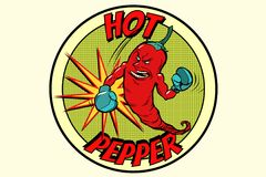 Emblem strong red pepper, spicy taste. Comic book cartoon pop art retro vector illustration Royalty Free Stock Photography