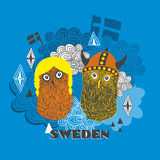 Emblem of Sweden with cute vikings. Stock Photo
