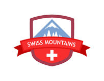 Emblem of Swiss Mountains. Coat of Arms with Illustration of Swiss Mountain Nature. Red Modern Design of Emblem with color of Switzerland Flag isolated on white Stock Images