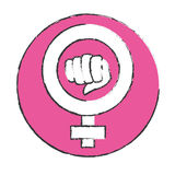Emblem symbol to fight for rights of women. Illustration Stock Image